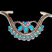 Vintage Zuni Sterling Silver Sleeping Beauty Turquoise V Shaped Cuff Bracelet Smaller Wrists