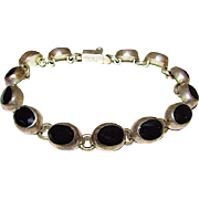 Taxco Mexican Sterling Silver 925 Onyx Link Bracelet