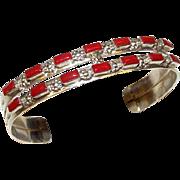 Vintage Old Pawn Native American Zuni Sterling Silver Mediterranean Coral Cuff Bracelet