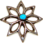 Navajo Sterling Silver Turquoise Sand Cast Floral Brooch Native American Old Pawn Brooch