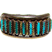 Native American Old Pawn Zuni Sterling Silver Cerillos Mine Turquoise Ring Size 5