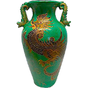 Antique Large Chinese Clay Dragon Floor Vase Urn Asian Oriental Dragonware Clay Pottery Rare