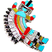 Vintage Zuni Sterling Silver Turquoise Coral MOP Jet Yei Rainbow God Brooch Pin Pendant Naja