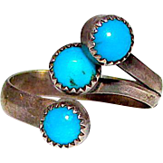 Old Pawn Zuni Sterling Silver Turquoise Adjustable Statement Ring Native American Ring