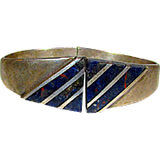 Taxco Mexican Sterling Silver 925 Lapis Lazuli Clamper Bracelet