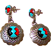 In Layaway for S. >>>Navajo Sterling Silver Turquoise Coral Jet Inlay Pierced Dangle Earrings Native American Inlay Earrings