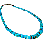 Vintage Navajo Turquoise Sterling Disc Beaded Necklace Old Pawn Native American Navajo Turquoise Necklace