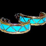 "Native American Zuni Sterling Silver Turquoise Inlay Pierced 1/2"" Hoop Earrings"