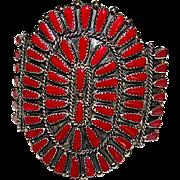Vintage Native American Zuni Sterling Silver Coral Cluster Rosette Statement Cuff Bracelet Signed