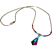 Native American Navajo Sterling Silver Turquoise, Coral, Lapis, Malachite Channel Inlay Pendant Necklace