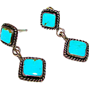 Southwestern Trading Post Sterling Silver 925 Turquoise Pierced Dangle Earrings