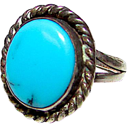 Vintage Old Pawn Native American Navajo Sterling Silver Turquoise Ring Size 5.5
