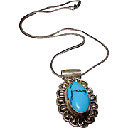 Taxco Mexican Sterling Silver 925 Turquoise Pendant Necklace Vintage Taxco Necklace