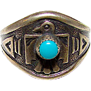 Navajo Old Pawn Native American Sterling Silver Turquoise Thunderbird Statement Ring Size 8