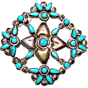 Native American Old Pawn Zuni Sterling Silver Sleeping Beauty Mine Turquoise Petit Point Pin Brooch