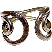Deco Sterling Silver 925 Adjustable Statement Ring Open Scroll Design Size 6.5