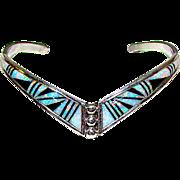 Zuni Sterling Silver Fire Opal Jet Inlay V Shaped Statement Cuff Bracelet Signed Native American Opal Bracelet