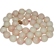 Angel Skin Coral 11mm Beads 14K Gold Clasp Necklace Hand Knotted Beaded Angel Skin Coral Necklace