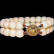 Victorian Angel Skin Coral 12K GF 9mm Beaded Bracelet Double Strand Design Ornate Filigree Clasp