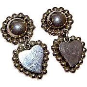Taxco Mexican Sterling Silver 925 Heart Shaped Clip On Dangle Statement Earrings