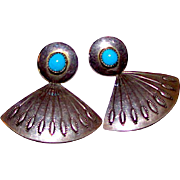 Vintage Navajo Sterling Silver Turquoise Pierced Dangle Earrings Native American Statement Earrings
