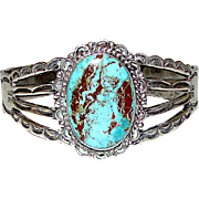 Old Pawn Navajo Coin Silver Dry Creek Mine Turquoise Cuff Bracelet Native American Vintage Cuff Bracelet