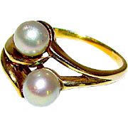 Art Nouveau Cultured Silver Akoya Pearls 10K Yellow Gold Cocktail Ring Size 7 1/2