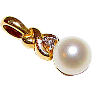 Vintage Cultured Silver Akoya Pearl diamond Accent Pendant