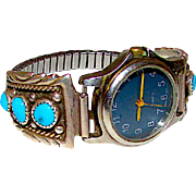 Vintage Native American Navajo Richard Tsosie Sterling Silver Turquoise Lady's Watch Band with Watch Squash Blossom Design