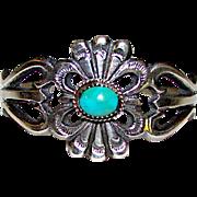 Navajo Sand Cast Sterling Silver Turquoise Cuff Bracelet Native American Signed Bracelet 40gr