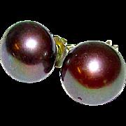 Cultured 8mm Black Akoya Pearl Sterling Silver 925 Post Earrings