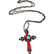 Southwestern Sterling Silver Turquoise Spiny Oyster Marcasites Cross Pendant Necklace