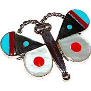Zuni Sterling Silver Turquoise Coral MOP Inlay Butterfly Brooch  Pin Pendant Artist Singed