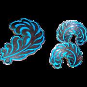 Mexican MARGOT DE TAXCO Sterling Silver Turquoise Enamel Feather Design Brooch Earrings Set