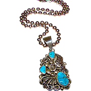 Vintage Native American Keith James Navajo Sterling Silver Kingman Mine Turquoise Squash Blossom Pendant Necklace 45gr