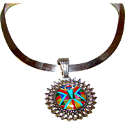 Vintage Relios Roderick Tenorio Sterling Silver Turquoise Inlay Reversible Statement Pendant on a Sterling Collar Necklace