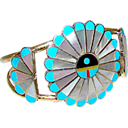 Vintage Zuni Sunface Inlay Cuff Bracelet Sterling Turquoise MOP by Collectible Adrian Wallace Signed Native American Jewelry