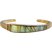 Vintage Native American Navajo Sterling Silver 925 Opal Channel Inlay Cuff Bracelet Asymmetrical Contemporary Design