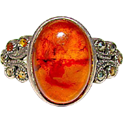 Deco Style Sterling Silver 925 Marcasites Amber Ring Size 8