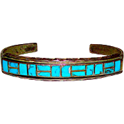 Old Pawn Zuni Sterling Silver 925 Turquoise Mosaic Inlay Cuff Bracelet Vintage Native American Turquoise Inlay Bracelet