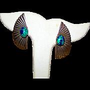 Native American NAVAJO Sterling Silver Blue Green Azurite Pierced Post Earrings