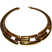 Vintage GIVENCHY Designer Runway Egyptian Revival Gold Plated Collar Style Statement Necklace