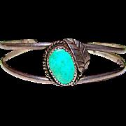 Old Pawn Navajo Sterling Silver Pilot Mountain Mine Turquoise Cuff Bracelet Native American Squash Blossom Design Bracelet