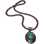 Vintage Native American Q. Yazzie Navajo Sterling Silver Carico Lake Green Turquoise Pendant Necklace