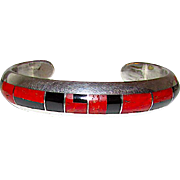 Navajo Jim Royer Sterling Silver Coral Jet Channel Inlay Statement Cuff Bracelet Signed 40gr