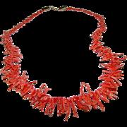 Vintage Mediterranean Branch Coral Necklace