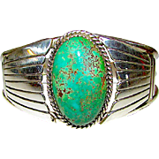Old Pawn Native American Navajo Sterling Silver Carico Lake Turquoise Cuff Bracelet Hand Etched Design