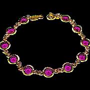 Vintage Swarovski Faceted Purple Crystal Designer Bracelet
