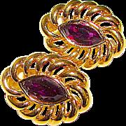 Vintage Swarovski Gold Plated Filigree Clip On Statement Earrings with Purple Swarovski Crystals