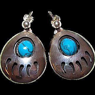 Native American Navajo Sterling Silver Turquoise Bear Paw Pierced Dangle Statement Earrings